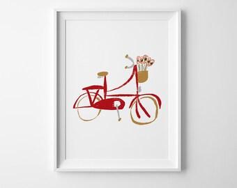 Red Bicycle Illustration, Large Poster Printable, 24x36, Nursery Printable, Kids Art Poster, Bike Poster, Instant Download Poster, Red Bike