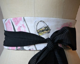 French paris obi belt sash reversible waist cincher pink black tweed cotton