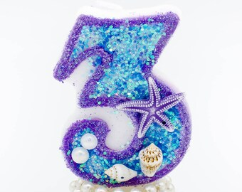 Teal purple birthday candle / mermaid birthday candle/ birthday candle mermaid/ mermaid birthday theme / mermaid theme / mermaid decorations