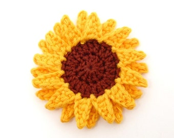 Crochet applique, crochet flowers, 1 crochet sunflower, cardmaking, scrapbooking, appliques, handmade, sew on patches. embellishments