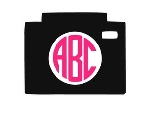 Monogram Camera Vinyl Decal, Camera Decal, Custom Decal, Vinyl Decal, Monogram Decal, Camera, Monogram Camera, Self Applied Decal