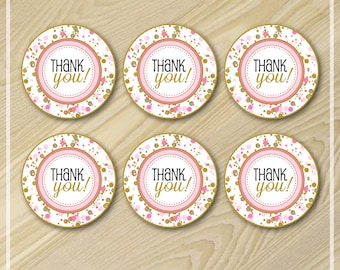 Pink and Gold Party Favor Tags