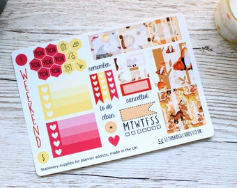 Autumn Animals Mini Happy Planner Weekly Kit; Vinyl Planner Stickers; Mambi; Decorative Stickers; Fall Weekly Kit; Personal Weekly Kit