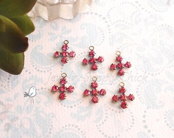 Rose Swarovski Crystal cross (x6)