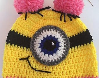 Minion Inspired Pink Pom Hat