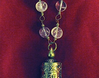 Tibetan Prayer wheel crystal beaded wire wrapped neckace/mala