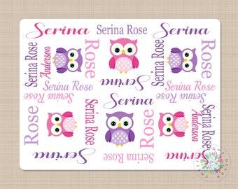 Owls Baby Blanket Pink Purple Owls Baby Girl Monogram Blanket Personalized Blanket Name Blanket Newborn Blanket Baby Shower Gift  B177