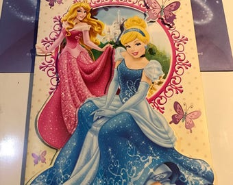Birthday card 3D envelope Disney - Princess Belle from beauty and the beast Disney / Aurora from sleeping beauty / Cinderella