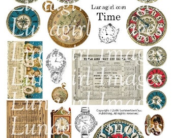 Vintage CLOCKS TIME digital collage sheet, antique Watches Victorian Calendars, steampunk art, vintage images ephemera clockfaces DOWNLOAD