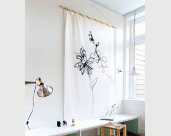 Wall cloth ' flowers '-wall cloth-wall cloth-cloth-rug-canvas-accessory-living-interior-bamboo-fabric-Wall decoration