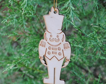 Natural Wood Toy Soldier Ornament