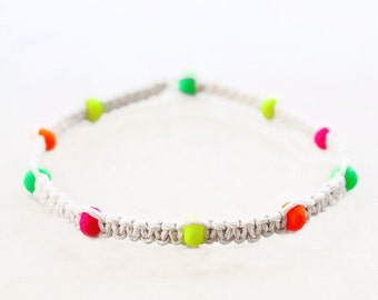 Neon Czech Glass Hemp Anklet - Hemp Jewelry