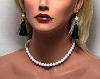 White Necklace, White Mountain Jade, Beaded  Necklace, Single Strand, 4mm, 6mm, 8mm, 10mm, 12mm