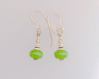 Lamp Work Green Earrings Small with posts