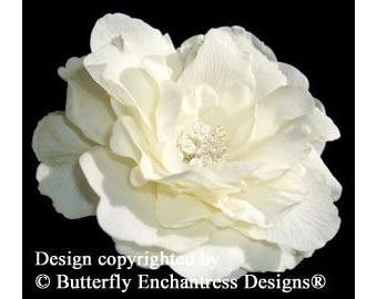 Ivory Audrina Bridal Hair Flower Clip - Pearl Crystal