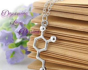 Molecule Necklace DOPAMINE Love and Passion Silver necklace Perect Gift