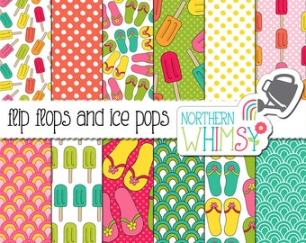 """Summer Digital Paper - """"Flip Flops and Ice Pops"""" - pink, green, turquoise & coral scrapbook paper with sandals and ice cream -commercial use"""