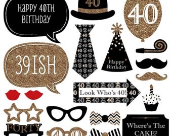40th birthday Photo Booth Props 20 Piece Set - Party Photo Props - birthday Party Favor,40th props , 40th birthday props