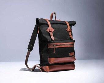 Adventure Roll Top Backpack (Black)