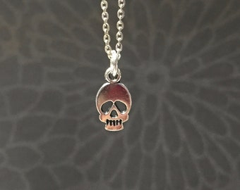 Tiny Skull necklace-Choose your length-Silver Plated Flat skull charm Punk Grunge Dainty Silver Plated Cable Chain-Silver Skull necklace