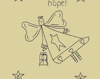 "Primitive Stitchery E-Pattern ""An angel's gift is a gift of hope!"""