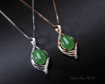 Luxury jade jewelry etsy rose gold high quality natural emerald jade necklace delicate sterling silver genuine green jade pendant aloadofball Gallery
