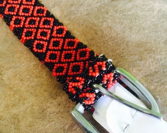 BEAUTIFUL HANDMADE sequence beaded belt from Chiapas Mexico