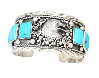Eagle Men's Bracelet with Turquoise