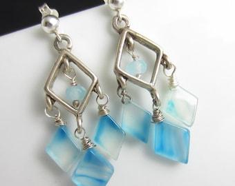 Cool Water Earrings- Streaky Blue Chalcedony in Sterling Silver Chandeliers