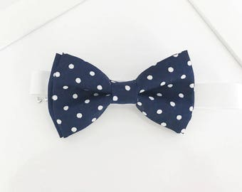 Navy and white Polka dots Bow-tie - boys bow tie - adult bow tie - baby bow tie - polka dots bow tie