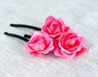 71 Hair pins wedding, Rose pins, Bridal hair pins, Pink wedding, Wedding barrettes, Hair clips flowers, Wedding hair accessories, Roses pins
