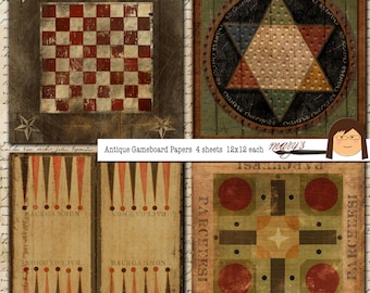 Antique Game Board  Papers  4  12x12  sheets