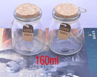 2 glass jars, small glass bottles, bottles, small glass bottles with corks, glass bottle with cork, bulk glass bottles, cork bottles 160ml