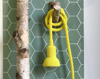 Lampe, garden pendant, crocheted in bright yellow, 6 meter cord