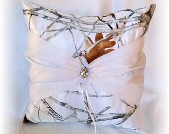 Snow Camo Wedding Ring Pillow, White Ring Pillow, Snow Camo Wedding, True Timber Ring Pillow, White Camo Wedding Pillow