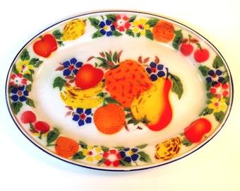 Large Vintage Colorful Enamel Metal Fruit Tray Platter