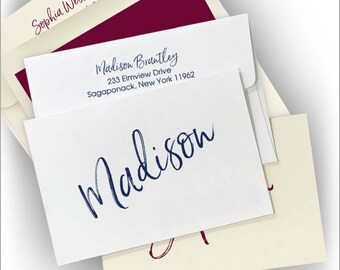 25 Personalized Fold Notes, Single Name Notes, Calligraphy Style Name Notes, Personalized Notes, Notes For Her|Signature Fold Notes|3966