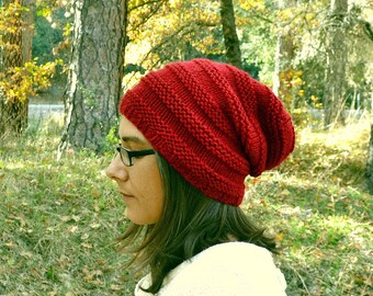 Knit Beanie Hat Accordion Dread Hat Toque Hand Knit Slouchy Beanie Wool Beehive Winter Hat More Color Options