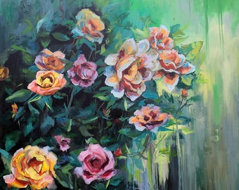 Original art and handmade oil painting. Flower painting. 162x130 cms Floral, expressionism. Modern art. READY TO HANG Yellow and pink roses