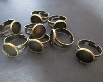 Adjustable ring bronze cabochon 12 mm