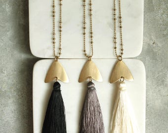 Long Tassel  Necklace, Choose Black, Gray or Ivory