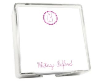 Personalized Notes with Acrylic Holder, Monogrammed, Loose Notes, Gift, Teacher Gift, Corporate Gift, Quick Ship, Fast Turnaround