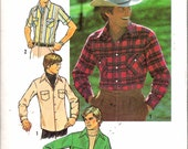 """Vintage 1976 Simplicity 7698 Western Style Men's Shirt Sewing Pattern Size Neck 16 1/2"""" Chest 44"""""""