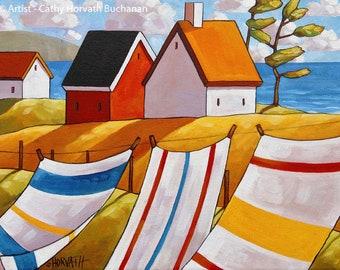 Ocean Breeze 5x7 Print, Coastal Cottage Wind Folk Art Print by Cathy Horvath, Summer Laundry Line Seascape Giclee, Home Decor Wall Artwork