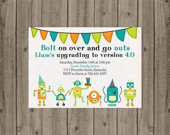 Robot Invitation, Robot Birthday Invite- 5x7 JPG DIGITAL FILE