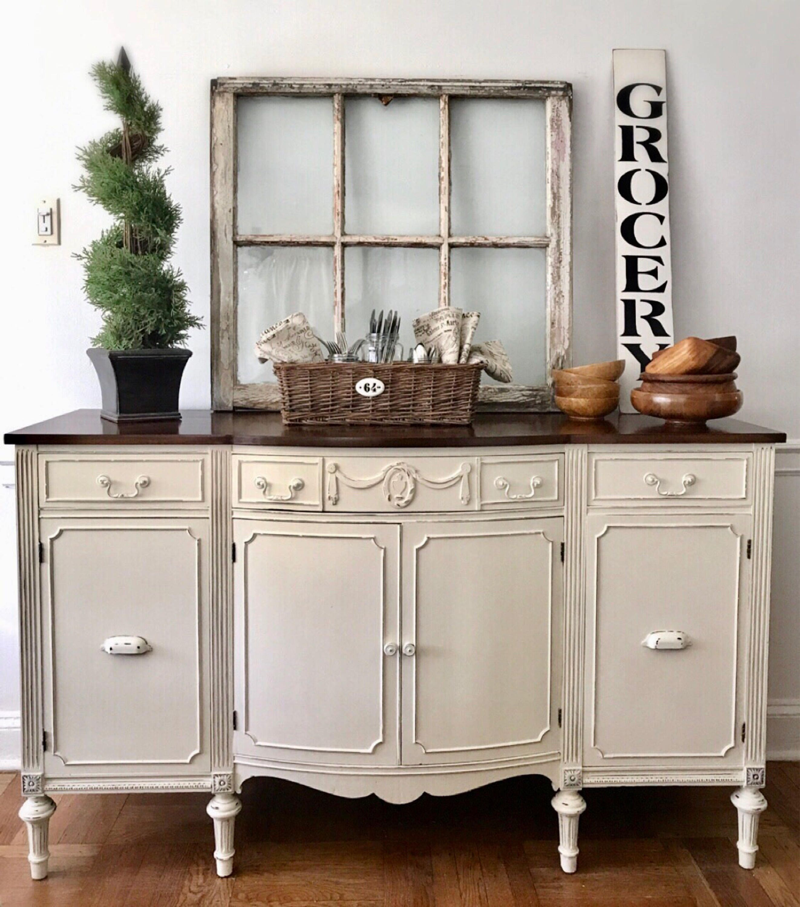 Sold vintage buffet vintage sideboard farmhouse for Painted buffet sideboard
