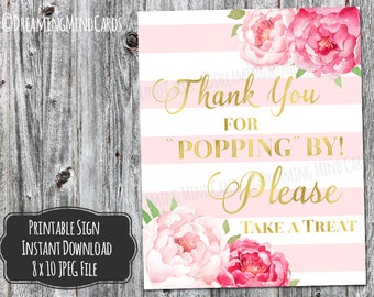 Printable Thanks for Popping By Popcorn Bar Sign 8x10 Pink Watercolor Flowers Gold Blush Pink Stripes Baby Shower Digital Download