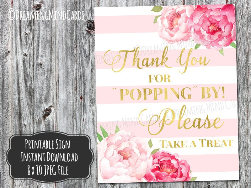 Printable Thanks For Popping By Popcorn Bar Sign 8x10 Pink