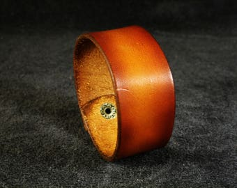 FREE SHIPPING! Custom made tooled leather bracelet brown, great gift, present