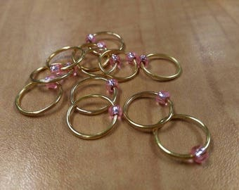 Snagless Knitting Stitch Markers - Gold with Pink glass bead